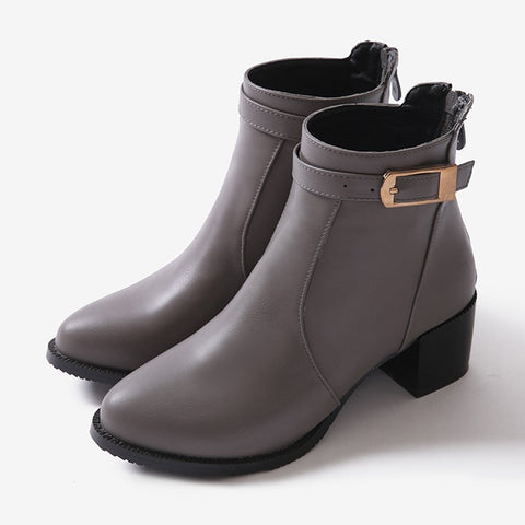 Womens Classic Buckle Strap Heel Boots