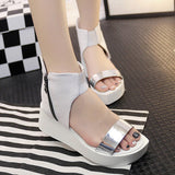 Womens Sleek Platform Wedge Sandals