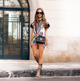 Womens Summer Ethnic Print Sheath Mini Dress