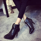 Womens Hot Front-Zip Trendy Bootie Heels