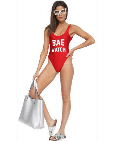 Womens Trendy Red Bae Watch One Piece Swimsuit