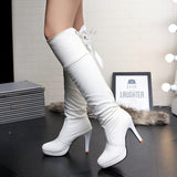 Womens Charming Knee High Ribbon Heel Boots