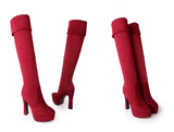 Womens Stylish Rollable High Knee Platform Heel Boots