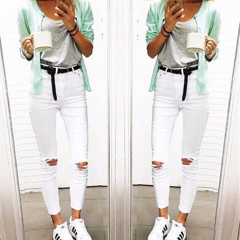 Trendy White Ripped Stretch Skinny Jeans