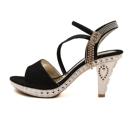 Womens Stunning Unique Jeweled Heel Platforms