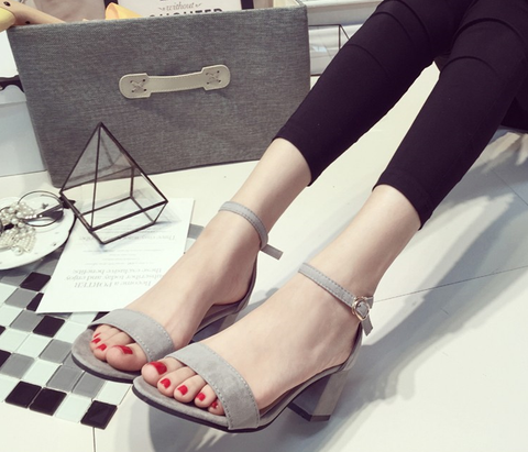 Womens Popular Ankle Strap Open Heels