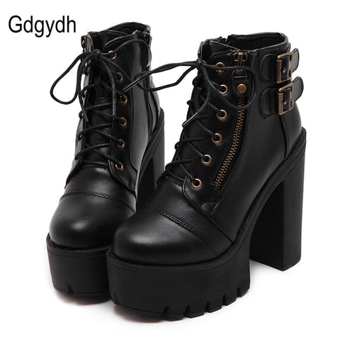 Womens Black Platform Zipper Spring High Heels Shoes Lace Up Ankle Boots