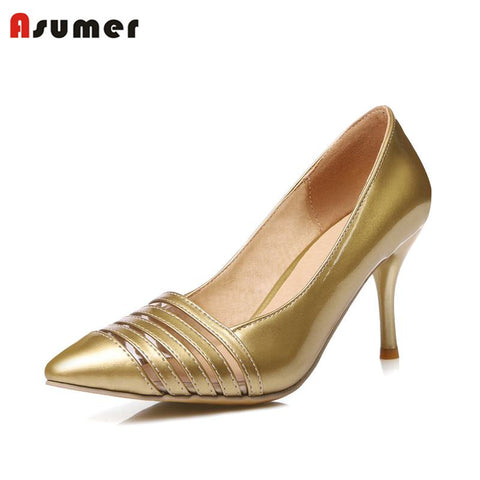 Womens Sexy Point Toe Gold Cut Out Fashion High Heels