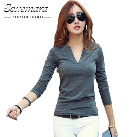 Womens V-Neck  Blouses Sexy Slim Knitted Long Sleeve Top