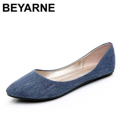 Womens New Soft Denim Flats Blue Fashion Basic Pointy Toe Ballerina Ballet Flat Slip On Office Shoes