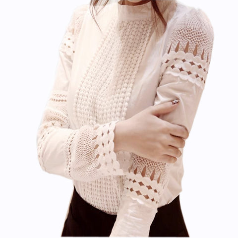 Women's White Long-sleeved Blouses Slim Basic Tops Plus Size Hollow Lace Shirt
