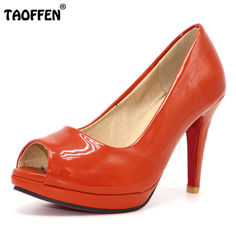 Womens Classic High Heel Peep Toe Patent Leather Dress Shoes