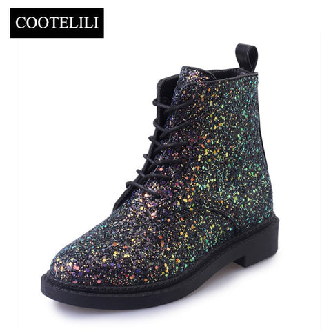 Womens Ankle Heels Woman Autumn Glitter Lace up Boots Casual Bling