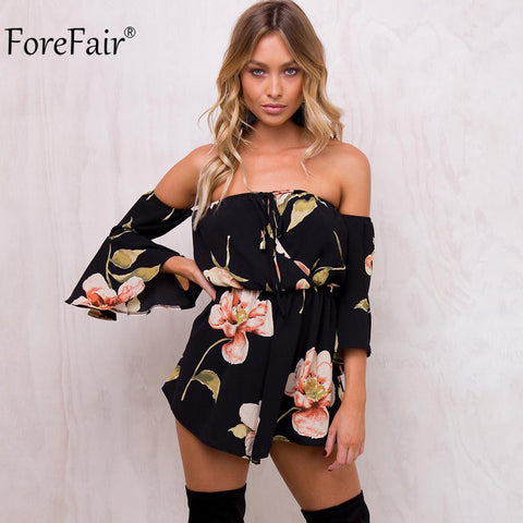 Womens Summer Floral Print Elastic Waist Short Chiffon Jumpsuit Flare Sleeve Boot Cut Sexy Strapless Romper