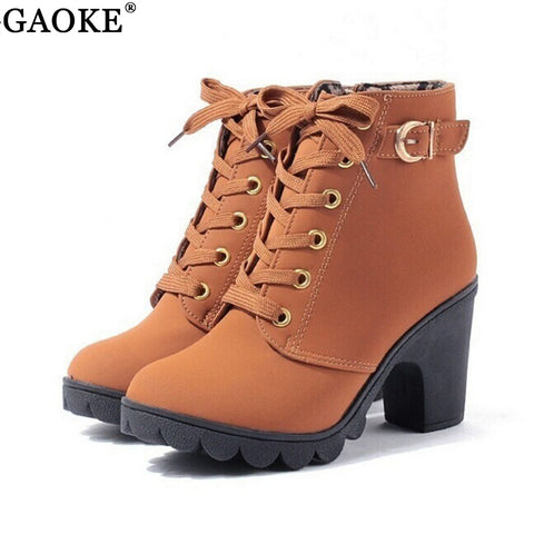 Womens New Solid Lace-up European PU Leather Fashion Boots