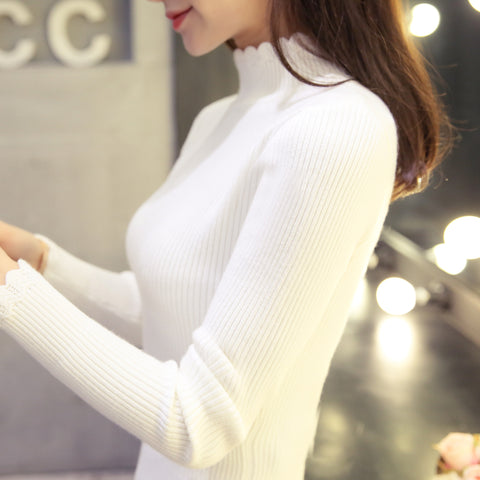 Womens 2018 New Fashion High Elastic Sexy Warm Knit Sweater
