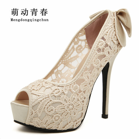 Womens Wedding Sexy Lace Peep Toe High Heels Platform Dress Pumps Bow Bridal Shoes