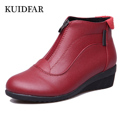 Womens Ankle Boots Fashion Wedges Heels Leather Shoes