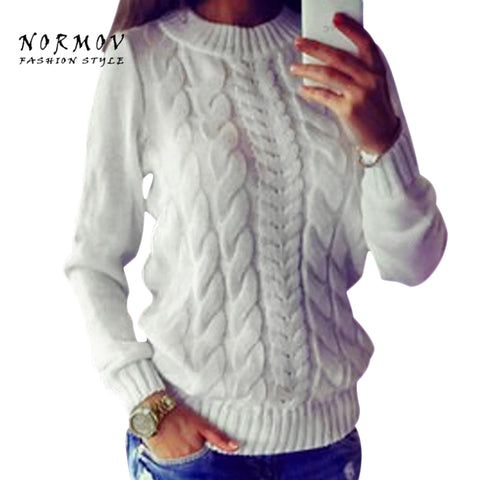 Womens Spring Solid Long Sleeve Thick Knit Sweater