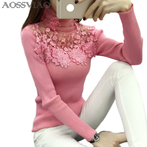 Womens High Elastic Knitted Sweater Spring Autumn Lace Patchwork Long Sleeve Sweater