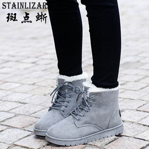 Womens New 8 Colors Ankle Boots Flat Casual Snow Lace-up Warm Cotton Shoes