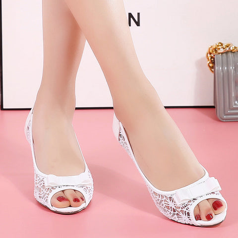 Womens Retro Lovely Pump Genuine Leather High Heel Hollow L Party Dance Office Lady Peep Toe Butterfly Wedding Shoes
