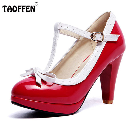 Womens High Heels T-Strap Bowknot Dress Shoes