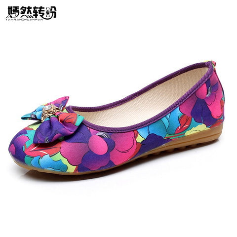 Womens Flats Shoes Summer New Bow Floral Cloth Flat Linen Casual Soft Ballerina Shoes