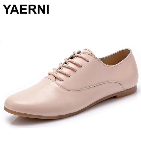 Womens Oxford Ballerina Genuine Leather Casual Lace Up Shoes