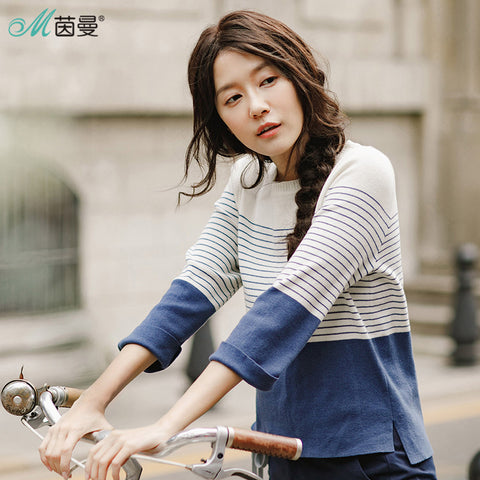 Womens 2018 Loose Striped Pullovers Casual Sweaters Top