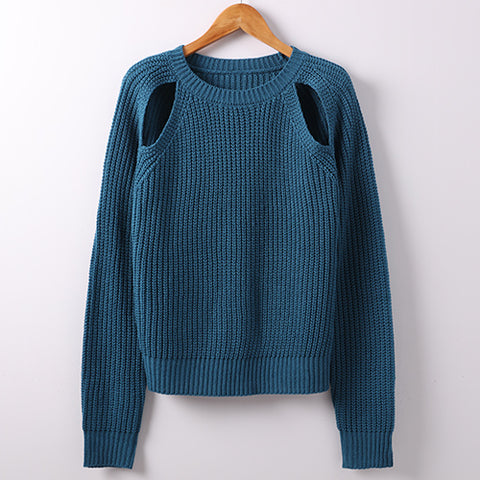 Womens Long Sleeve Sexy Oversize Knitted Sweater