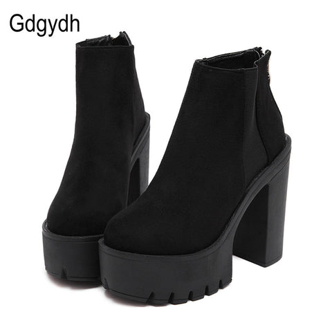 Womens Fashion Black Ankle Thick New Platform Shoes High Heels Black Zipper Ladies Boots