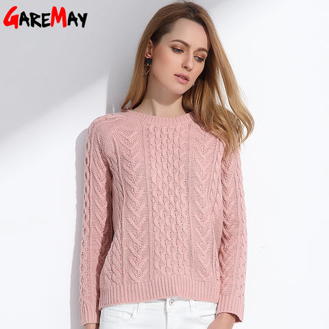 Womens Retro Pullover Pink Spring Slim Pull Knitted Long Sleeve Sweater