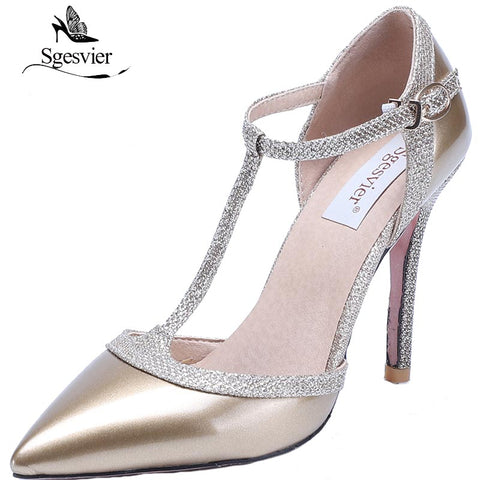 Womens Thin High Heels Pumps Nude Red Sexy Pointed Toe T-strap Wedding Party Dress Shoes