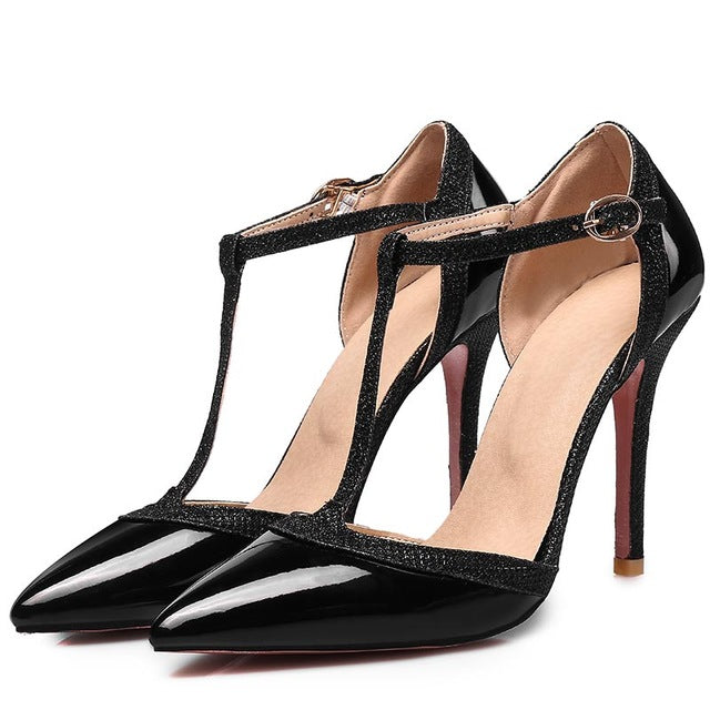 0730e624851 Womens Thin High Heels Pumps Nude Red Sexy Pointed Toe T-strap Wedding  Party Dress