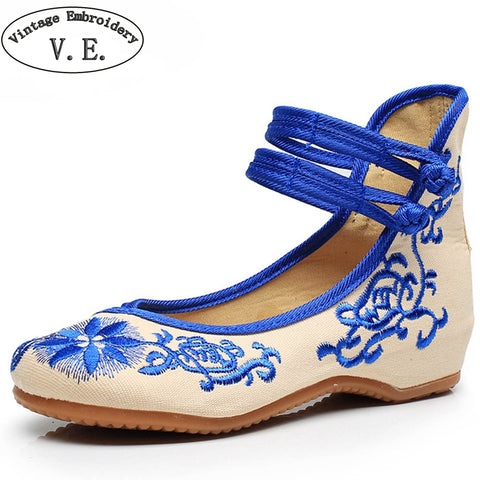 Womens Vintage Flats Mary Jane Flats Casual Chinese Embroidered Cloth Ballerina Shoes