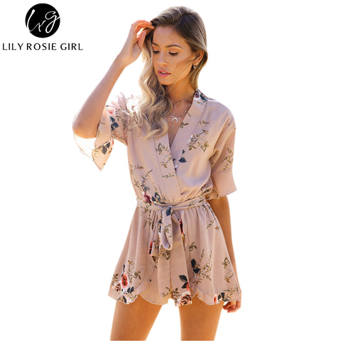 Womens Boho Red Floral Print Ruffles Playsuits Elegant White V Neck Jumpsuits Romper