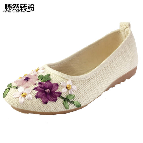 Womens Vintage Embroidered Flats Flower Slip On Cotton Fabric Linen Comfortable Ballerina Flat Shoes