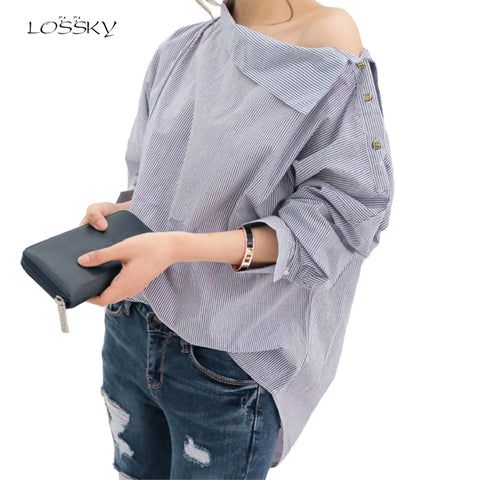 Womens Striped Blouses Sexy Skew Collar Batwing Long Sleeve Loose Blue Blouse