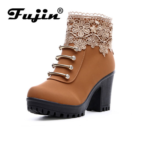 Womens Fashion PU Leather Round Toe Ankle Boots Sexy Lace Ladies 7cm High Heels 2cm Platform Shoes