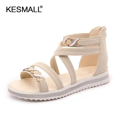 New Womens Summer Open Gladiator Ankle Strap Casual Beach Sandals