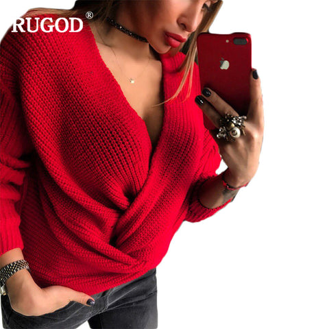 Womens Fashion Solid Sexy Cross Sweaters Pullovers Spring V-neck Long Sleeve Top