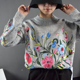 Womens 2018 Autumn Fashion Long Sleeve Flower Warm Casual Sweater