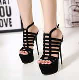 Womens Sexy Black Cage Platform Stiletto High Heels