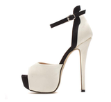 Womens Sexy Peep Toe Ankle Strap Platform Stiletto High Heels
