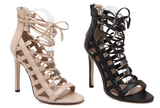 Womens Popular Lace Up Open Toe Stiletto High Heels