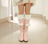 Womens Cute Furry Ball Winter Casual Boots