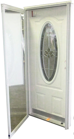 "Elixir Industries Series 9000 3-Panel Vinyl Steel Combo Door with 3/4 Oval Window R/H L/H 4"" Jambs"