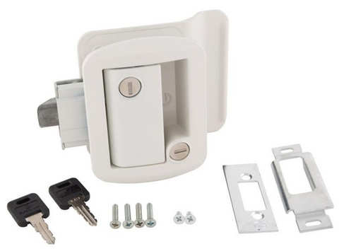Travel Trailer Lock in White or Chrome