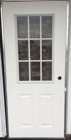 Elixir Exterior Outswing Panel Steel Door with 9 Light Cottage Window L/H White